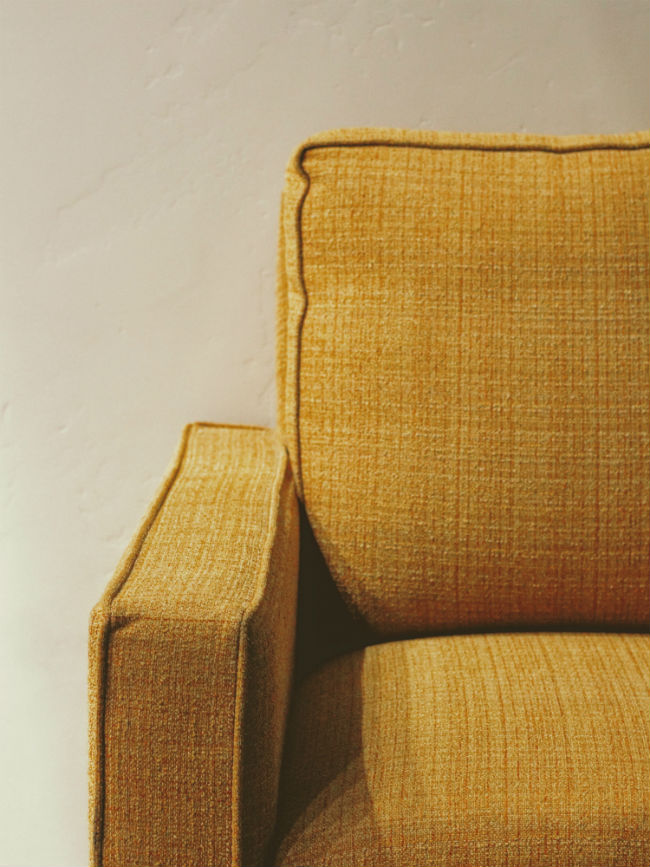 upholstered yellow mustard couch